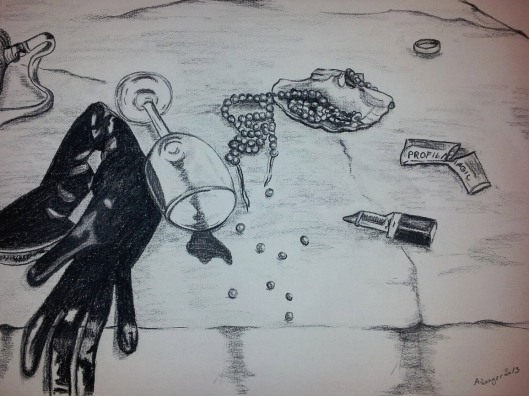 """Anny Langer """"After the party"""" charcoal on ingrespaper"""