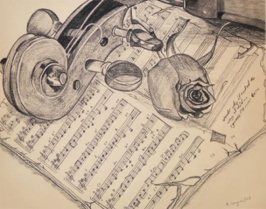 """Anny Langer """"After the concert"""" charcoal on ingrespaper"""