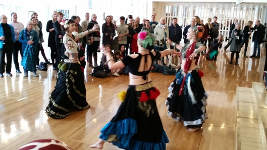 Teachers of the Oslo Tribal & Bellydance school dancing at the opening Photo & Copyright by Anny Langer