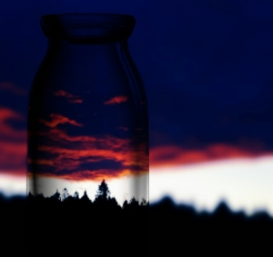 Sunset with a bottle Photo and Copyright by Anny Langer digital photo